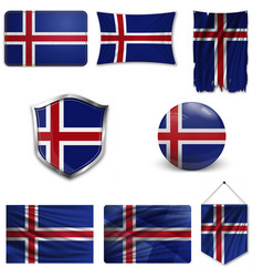 Iceland flag official colors and proportion vector