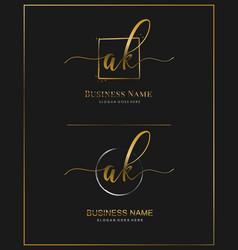 Initial a k ak handwriting logo letter vector