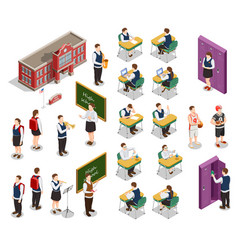 isometric school people set vector image