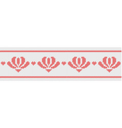 Jacquard wool knitted pattern with red flowers on vector