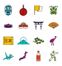 japan icons doodle set vector image