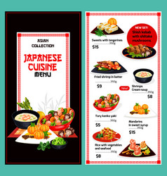 Japanese menu dishes cover template vector