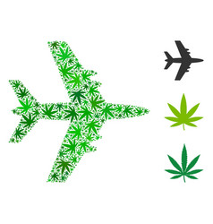 Jet plane collage of cannabis vector