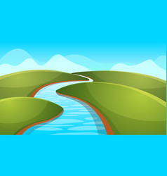 Landscape cartoon river sun hill vector