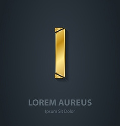 Letter I elegant gold font Template for company vector