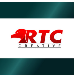 Letter rtc alphabetic logo design template red vector
