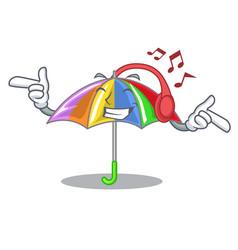 Listening music rainbow umbrella in chracter that vector