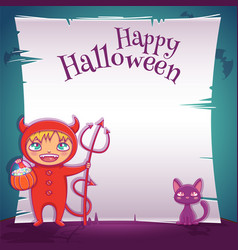 little kid in costume of devil with black kitten vector image