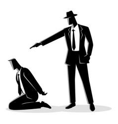 Man aiming a gun to the kneeling mans head vector