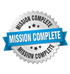 mission complete 3d silver badge with blue ribbon vector image