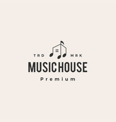 music notes house hipster vintage logo icon vector image