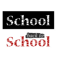 narrow black and white banner the school is vector image
