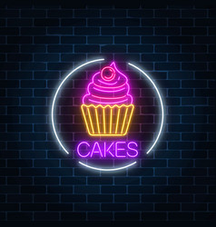 Neon glowing sign of cake with cream and cherry vector