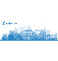 Outline ulaanbaatar skyline with blue buildings vector