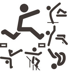 parkour icons set vector image