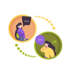 Phone dialogue two persons smartphone vector