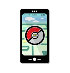 Prohibited pokemon on smartphone template map vector