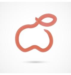 Red watercolor apple vector
