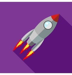 Rocket with flame icon flat style vector image