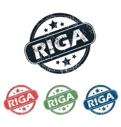 Round Riga city stamp set vector