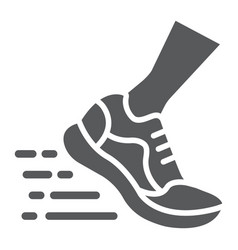 running fast glyph icon footwear and sport shoes vector image