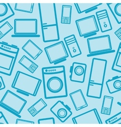 seamless background with electronic devices vector image