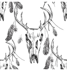 seamless pattern with deer scull and feathers vector image
