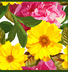 seamless pattern with yellow chrysanthemums vector image