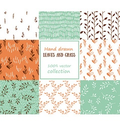 Set of seanless patterns Grass and leaves vector