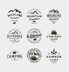 Set of vintage wilderness logos hand drawn retro vector