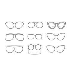 set with eyeglasses isolated icons retro and vector image