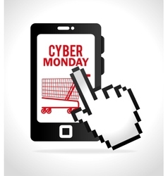 Smartphone cyber monday touch cart shop vector