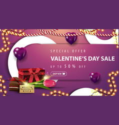 special offer valentines sale up to 50 off pink vector image