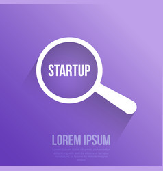 startup word magnifying glass vector image