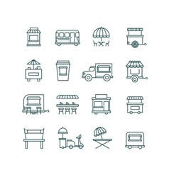 Street food retail truck line icons vector