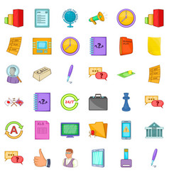 Time for business icons set cartoon style vector