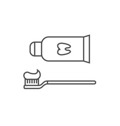 toothpaste and toothbrush line icon vector image