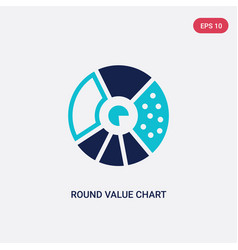 two color round value chart icon from business vector image