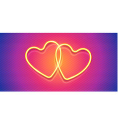 two neon style valentines day hearts on vector image