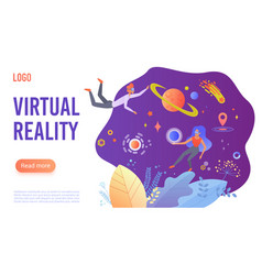 virtual reality flat landing page template vector image