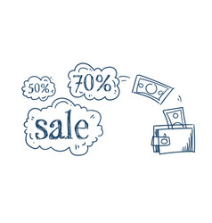 wallet money transaction shopping sale concept vector image