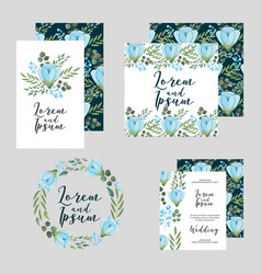 wedding floral template collection cards flowers vector image