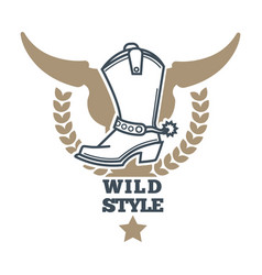 wild cowboy style colorful logo icon on white vector image
