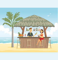 woman at beach bar - cartoon people character vector image