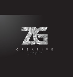 Zg z g letter logo with zebra lines texture vector