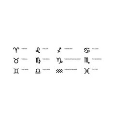 Zodiac signs astrology and horoscope black vector