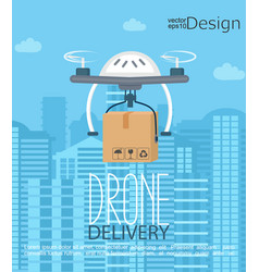 concept of the delivery by the drone vector image
