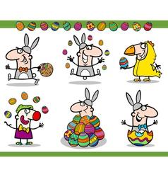 easter themes set cartoon vector image