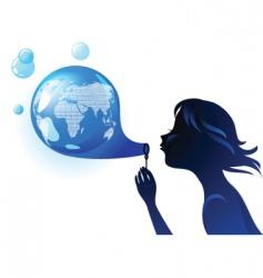 globe bubble vector image vector image