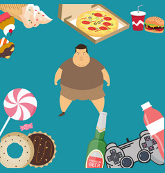obese overweight man kids eating sugar candy donut vector image vector image